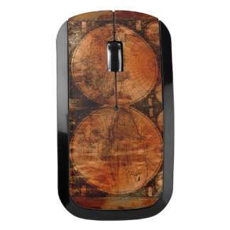 Grunge Rustic Vintage Old World Map Design Wireless Mouse