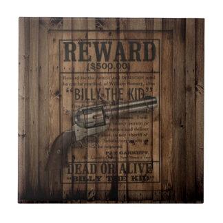 grunge rustic western billy the kid reward gun ceramic tile