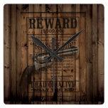 grunge rustic western billy the kid reward gun wall clocks