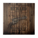 grunge rustic western billy the kid reward gun small square tile