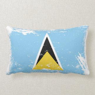 Grunge Saint Lucia flag Lumbar Pillow