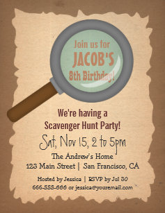 Scavenger hunt invitations announcements zazzle grunge scavenger hunt birthday party invitations filmwisefo