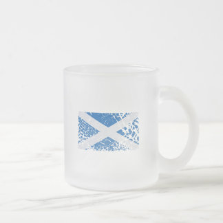 Grunge Scottish Flag Frosted Glass Coffee Mug