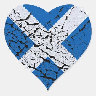 Grunge Scottish Flag Heart Sticker