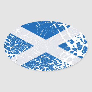 Grunge Scottish Flag Oval Sticker