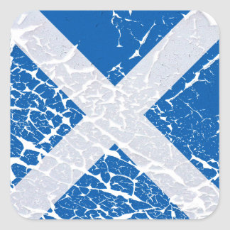 Grunge Scottish Flag Square Sticker