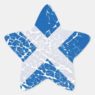 Grunge Scottish Flag Star Sticker