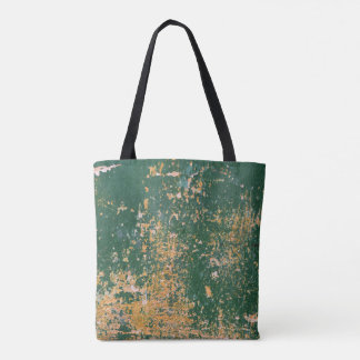 grunge scratched paint green old wall tote bag