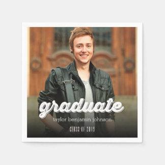 Grunge Script Simple Graduate Graduation Photo Paper Napkin