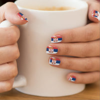 Grunge Serbia Flag Minx Nail Wraps