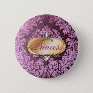 grunge shabby chic floral Victorian purple damask Button