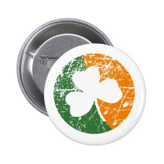 Grunge Shamrock Pinback Button