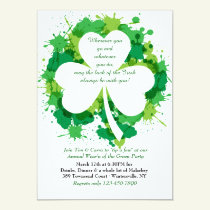 Grunge Shamrock St. Patrick's Day Invitation