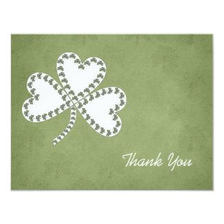 Grunge Shamrocks Thank You Card Personalized Invites