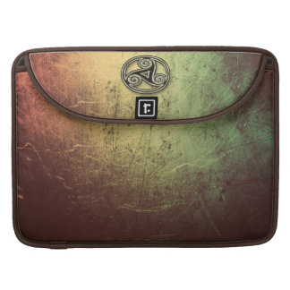 Grunge Sheen Faux Leather with Metal Celtic Spiral MacBook Pro Sleeve