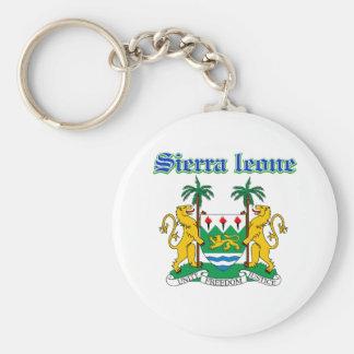 Grunge Sierra Leone coat of arms designs Basic Round Button Keychain