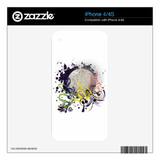 Grunge Silver Disco Ball 2 Decal For iPhone 4