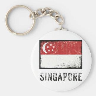 Grunge Singapore Basic Round Button Keychain