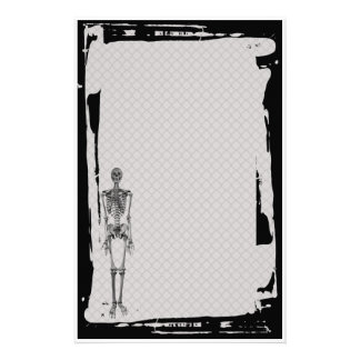 Grunge Skeleton Chain Link Fence Goth Stationery