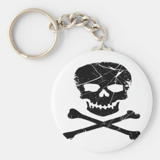 Grunge Skull and Cross Bones Tattoo Keychain