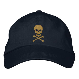 Grunge Skull and Crossbones Embroidered Cap Embroidered Hat