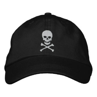 Grunge Skull and Crossbones Embroidered Cap Embroidered Baseball Cap
