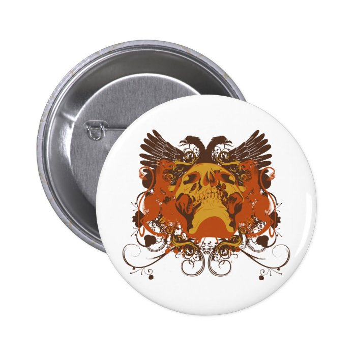 Grunge Skull and Wings Coat Of Arms Button