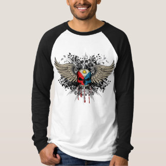 Grunge Skull and Wings  Philippine Flag T Shirt