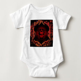 Grunge Skull & Background Tattoo Baby Bodysuit