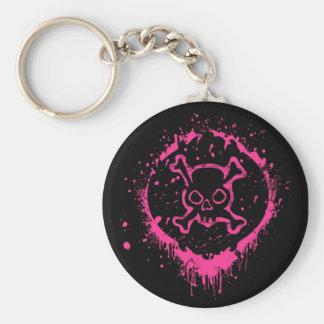 Grunge Skull Basic Round Button Keychain