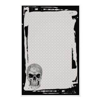 Grunge Skull Chain Link Fence Goth Stationery