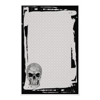 Grunge Skull Chain Link Fence Goth Stationery
