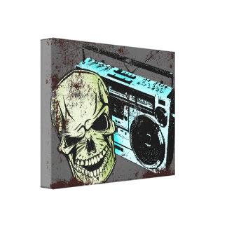 Grunge skull listening to a retro 80s boom box… canvas print