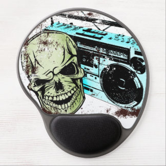 Grunge skull listening to a retro 80s boom box… gel mouse pad