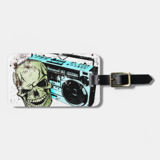 Grunge skull listening to a retro 80s boom box… luggage tag