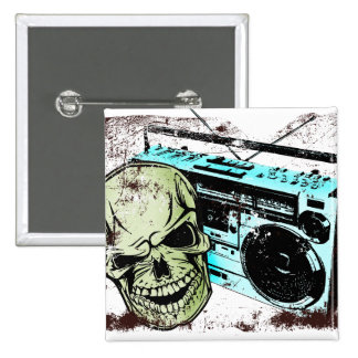 Grunge skull listening to a retro 80s boom box… pinback button
