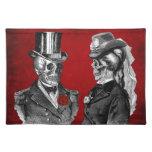 Grunge Skull Skeleton Couple Cloth Place Mat