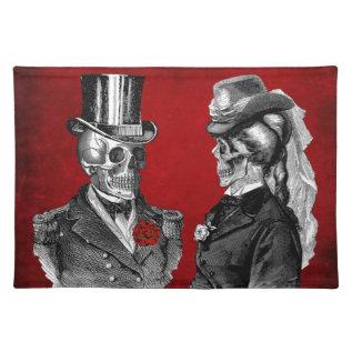 Grunge Skull Skeleton Couple Cloth Placemat at Zazzle