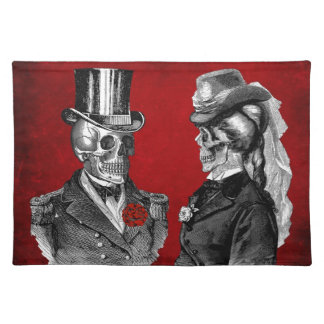 Grunge Skull Skeleton Couple Cloth Placemat