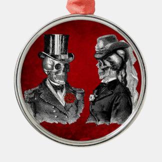 Grunge Skull Skeleton Couple Metal Ornament