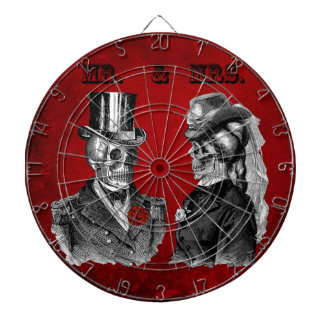 Grunge Skull Wedding & Anniversary Party Dartboard With Darts