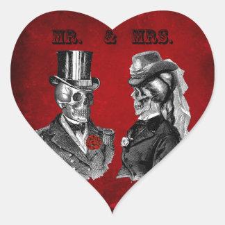 Grunge Skull Wedding & Anniversary Party Heart Sticker