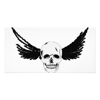 Grunge Skull with wings Card