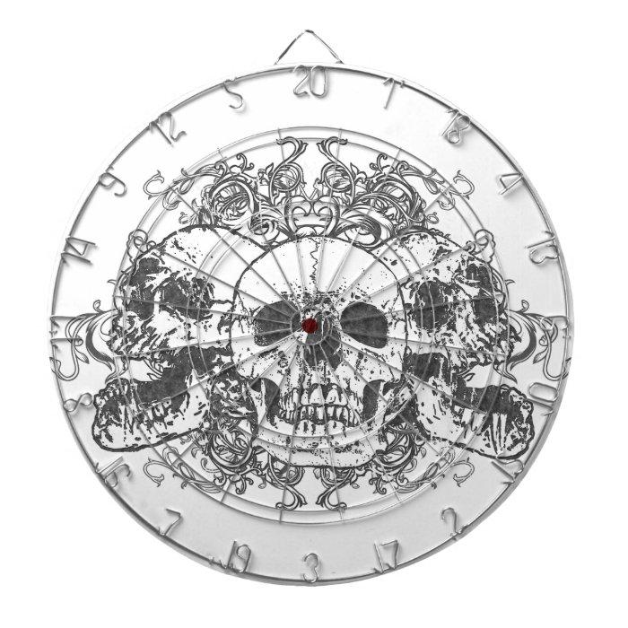 Grunge Skulls Goth Metal Dartboard