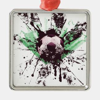 Grunge Soccer Metal Ornament