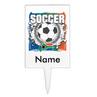 Grunge Soccer South Africa Cake Pick