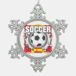 Grunge Soccer Spain Snowflake Pewter Christmas Ornament
