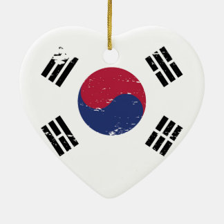 Grunge South Korea Flag Ceramic Ornament