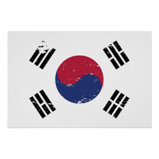 Grunge South Korea Flag Poster