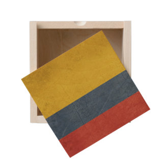 Grunge sovereign state flag of country of wooden keepsake box